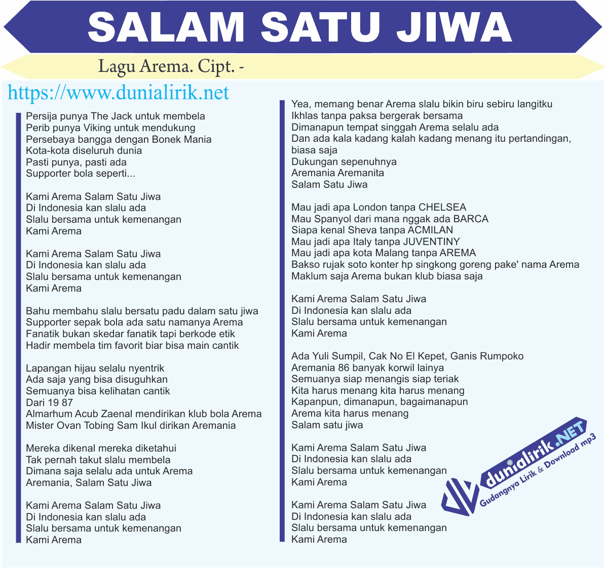 Download Lagu Deen Assalam: Lirik Lagu Arema Salam Satu Jiwa (Sasaji)