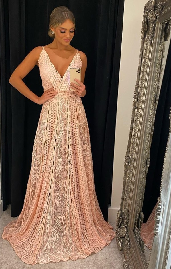 vestido longo rose de renda