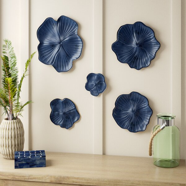 Bellefonte 5 Piece Ceramic Floral Wall Decor Set