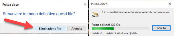 eliminazione file di windows update