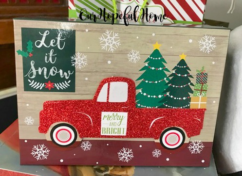 let it snow merry and bright red pickup truck Christmas tree decorated gift box