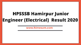 HPSSSB Hamirpur Junior Engineer (Electrical) (on contract basis) Post Code: 663 Result 2020