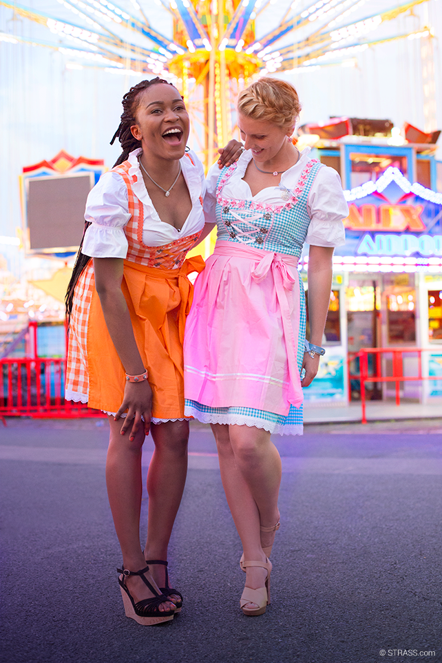 This is a picture of two of our girls posing in their Dirndls.