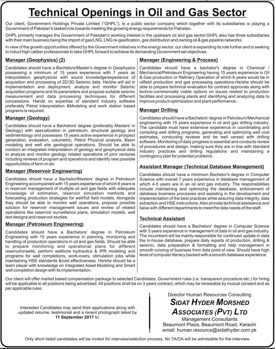 Oil And Sector Organization jobs in Karachi  Aug 2017