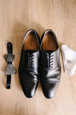 groom shoes, bowtie and pocket square