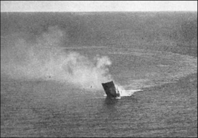 HMS Dorsetshire sinks on 5 April 1942. worldwartwo.filminspector.com