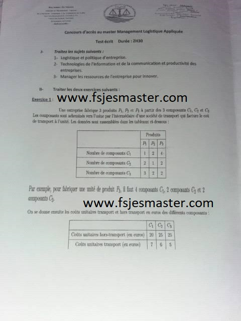 Exemple Concours Master Management Logistique Appliquée 2017-2018 - Fsjes Mohammedia