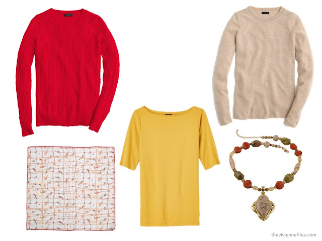 three tops in autumn accent colors of red, gold and beige, with coordinating scarf and necklace