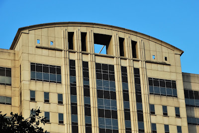 Top of South-facing facade of Criminal Courthouse - Harris County, Texas (Houston)
