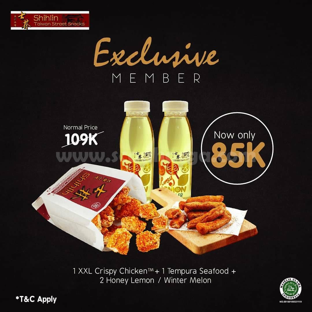 SHIHLIN Exclusive Member! Paket Special 1 XXL Crispy Chicken + 1 Seafood Tempura + 2 minuman hanya Rp 85.000