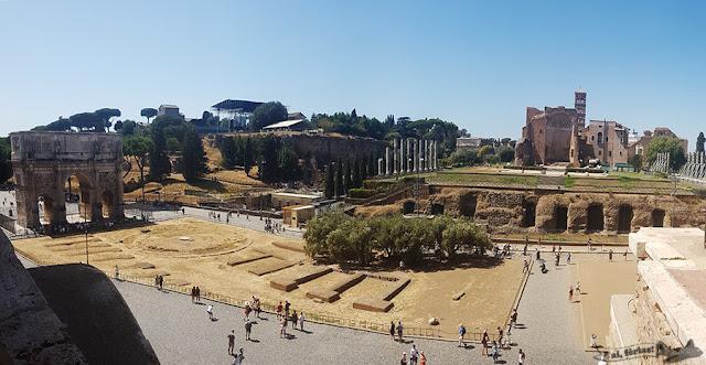 Coliseu, Arco Constantino, Monte Palatino, Via Sacra, Fórum Romano, Roma, Itália