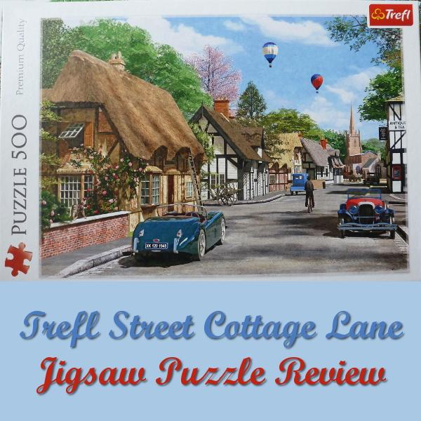 Trefl Street Cottage Lane Jigsaw Puzzle Review by PuzzleHour.com Artist Dominic Davison Thatched Cottages, England, Vintage Cars