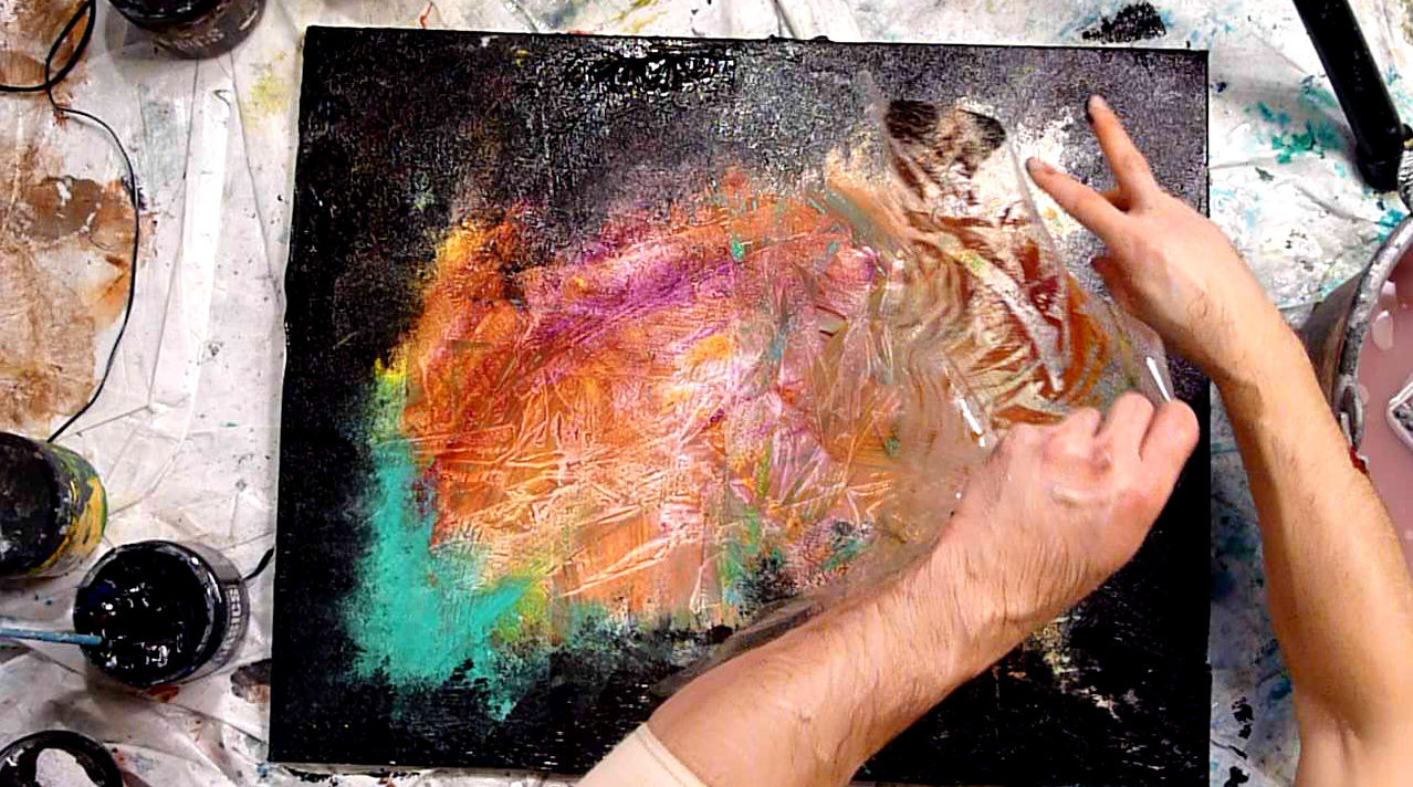 Utilize Plastic Wrap For Your Abstract Painting Techniques