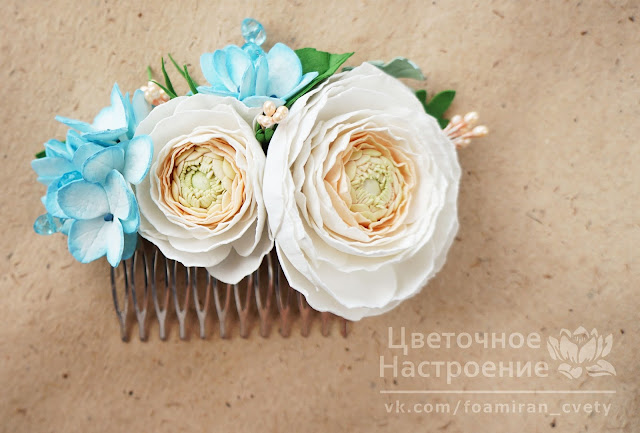 цветочные гребешки для волос