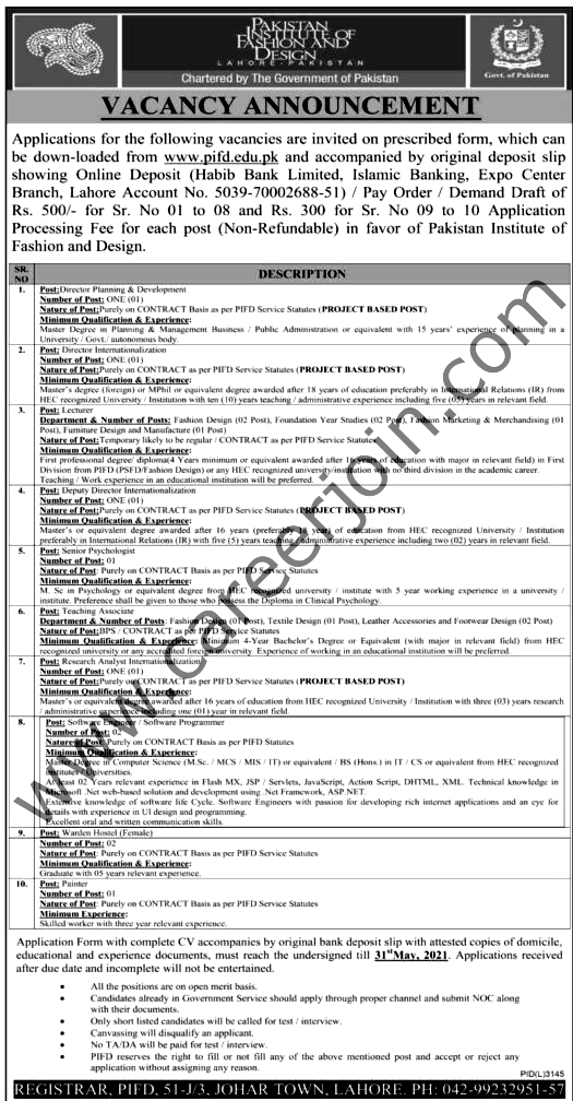 Latest Jobs in Pakistan Institute of Fashion and Design PIFD May 2021