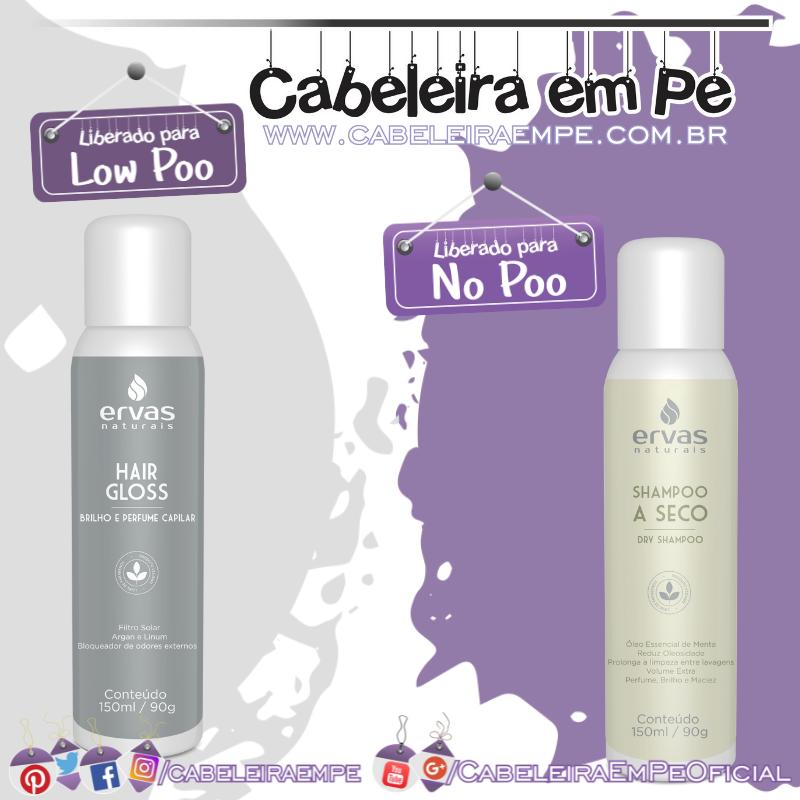 Shampoo a Seco (No Poo) e Hair Gloss (Low Poo) - Ervas Naturais