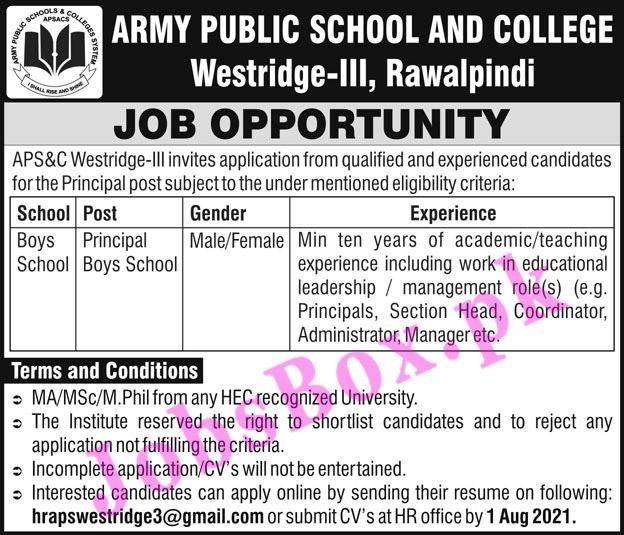 Army Public School & College Rawalpindi Jobs 2021