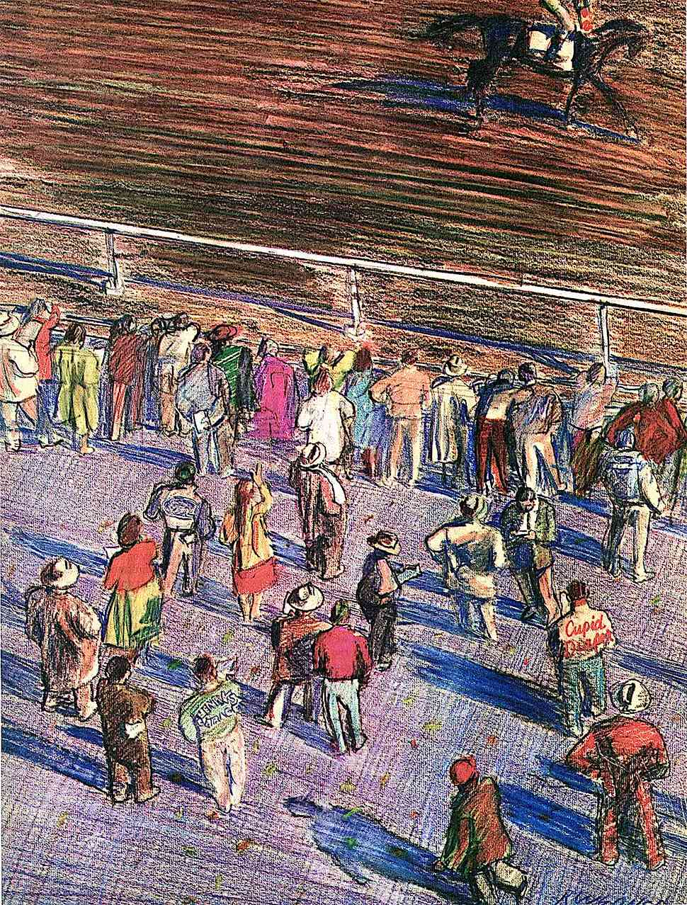 Robert Weaver 1968 art, people at a horse race track