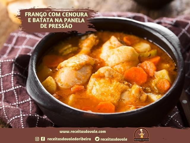 Receita de Frango com Cenoura e Batata na panela de pressão