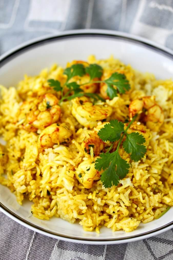 Biryani with shrimp and cilantro