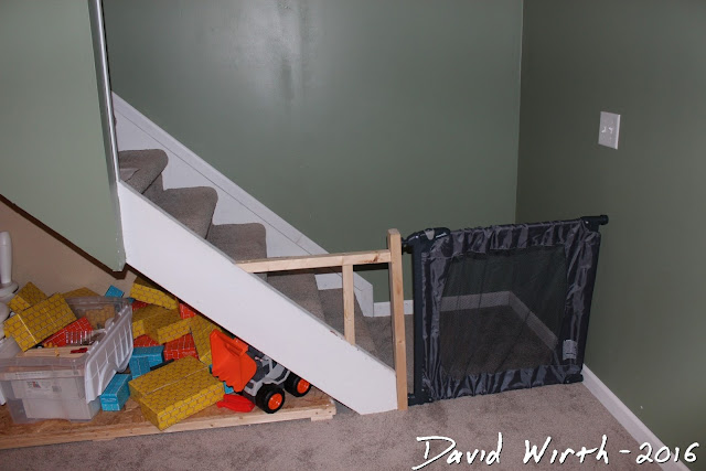 baby gate wood frame, wall mount, basement stairs