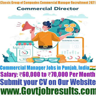 Classic Group of Companies Commercial Manager Recruitment 2021-22