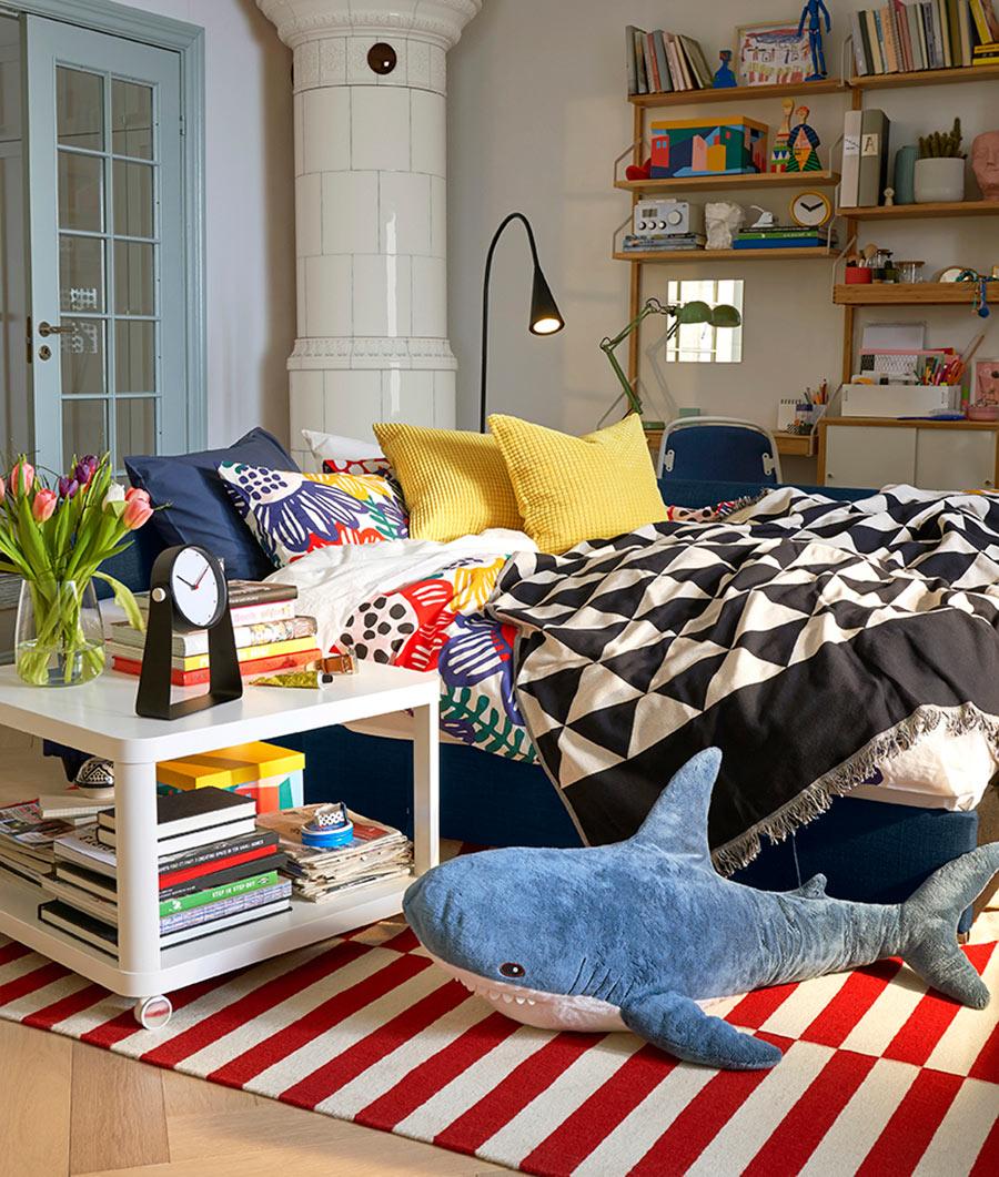 novedad catálolgo ikea 2020 salón dormitorio sofá cama textiles color