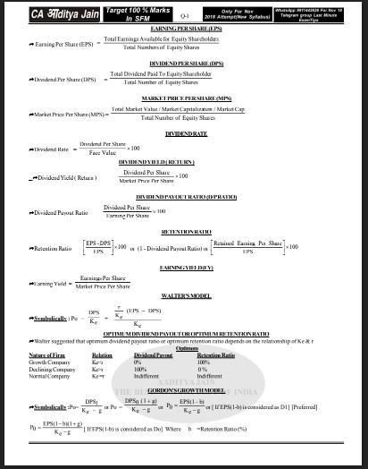 CA Final Paper 2 - SFM Formula Book by Aditya Jain