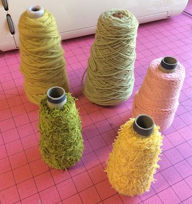yarn wrapped candy corn Halloween decorations Stefanie Girard