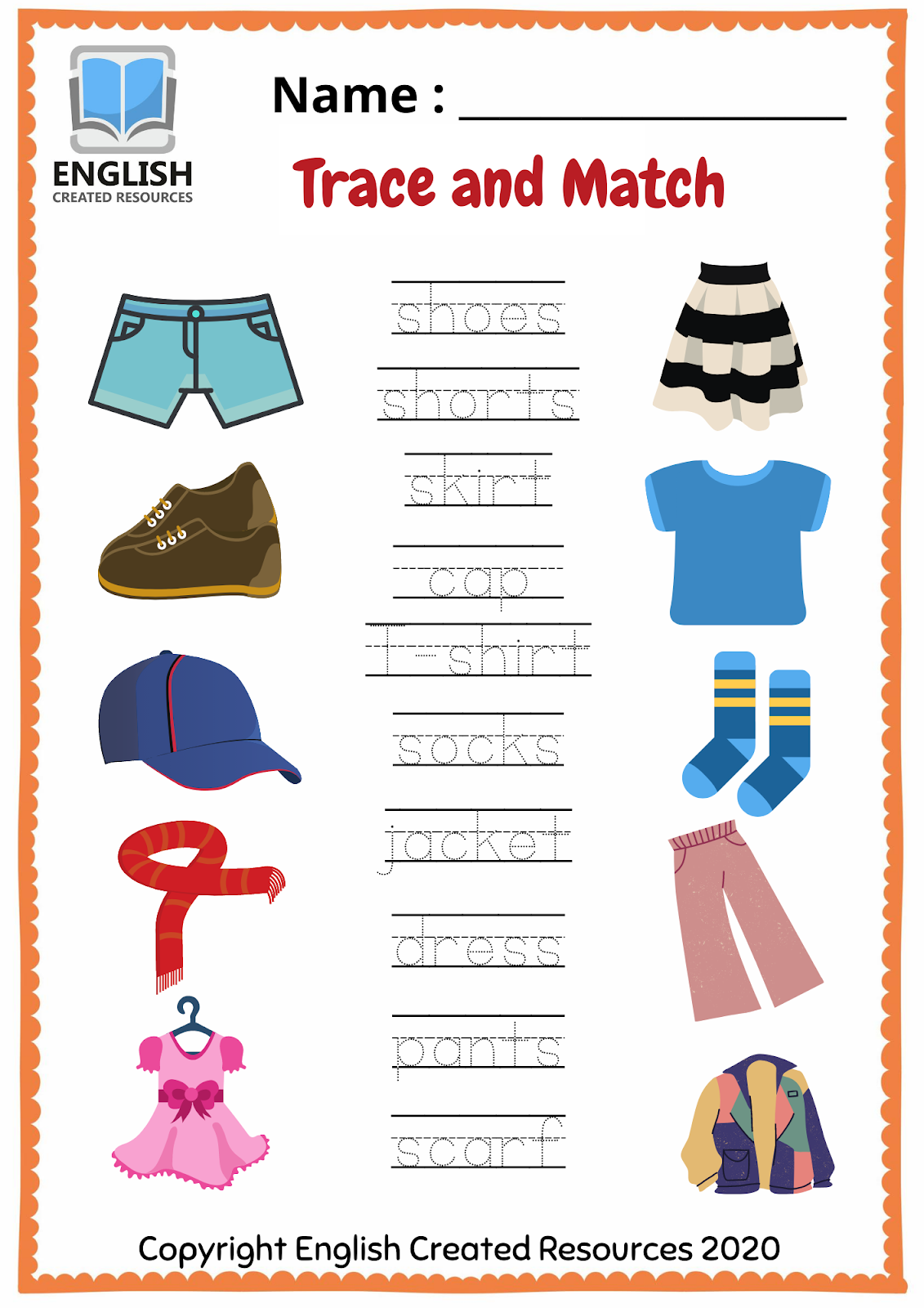 Worksheets For Kids Clothes