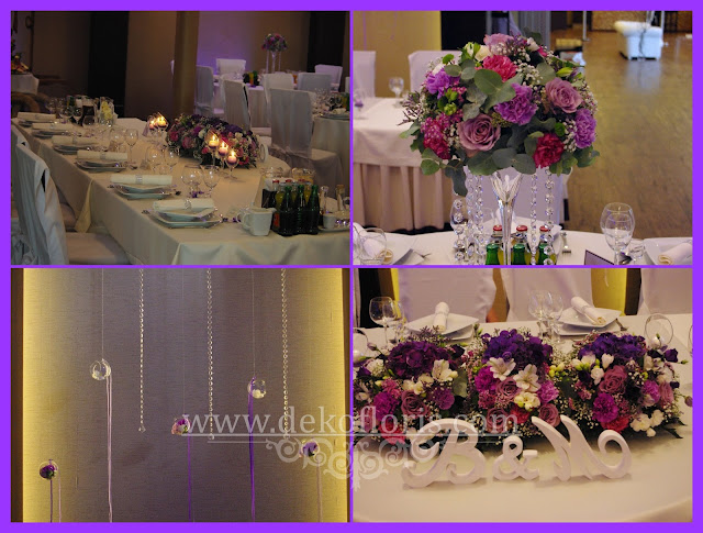 Fioletowa dekoracja wesela w Hotelu Arkas Prószków opolskie