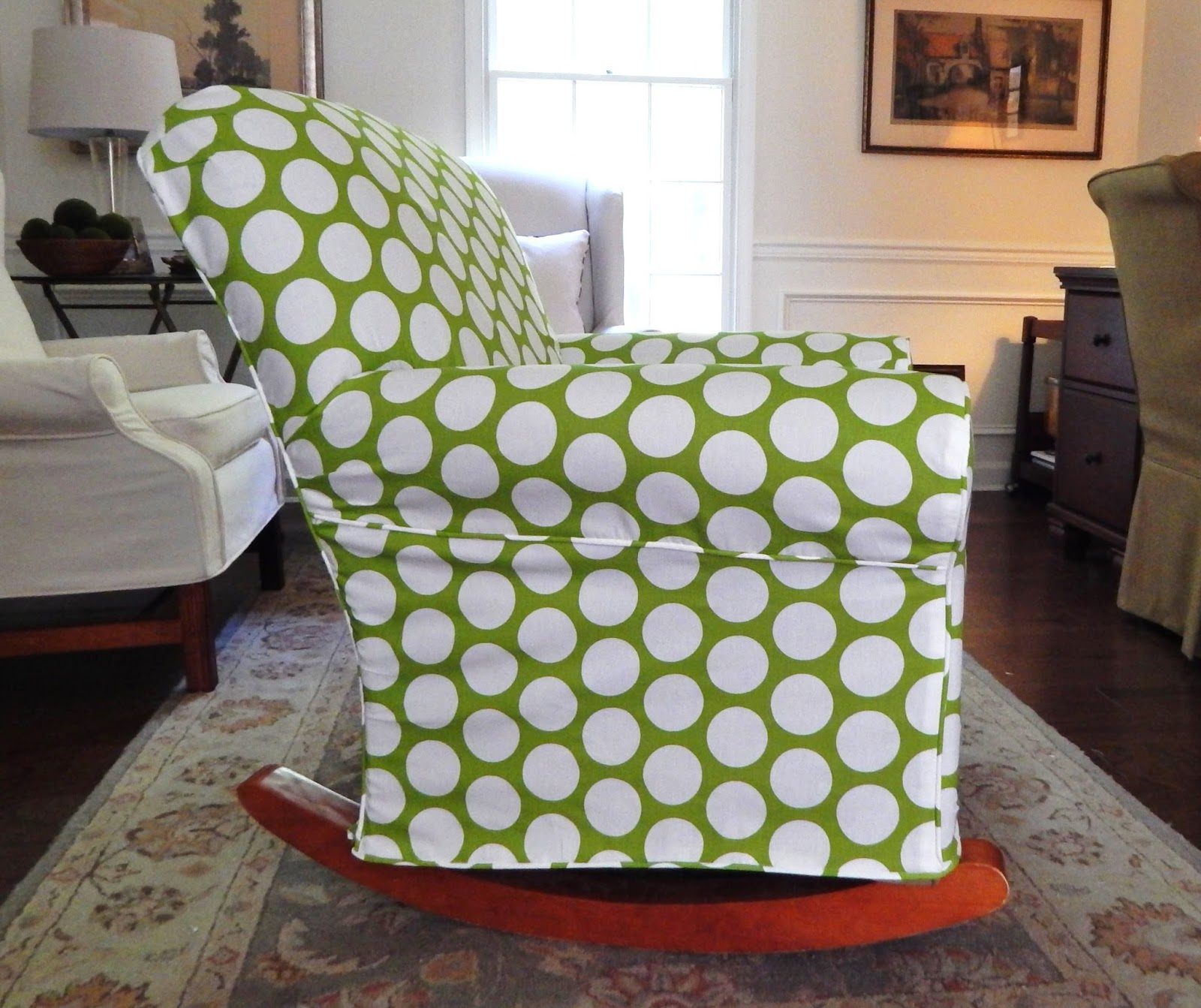 polka dot rocking chair cushions dining table with bench and chairs pam morris sews rocker for a nursery