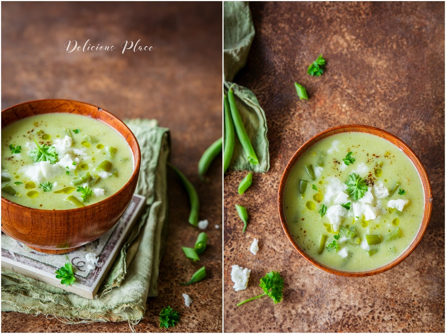 Zupa z fasolki szparagowej z kozią fetą