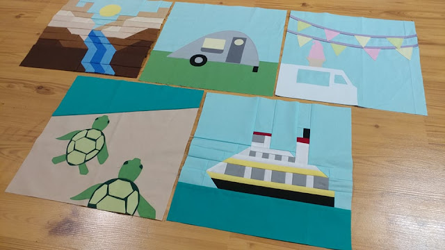 Destination: Quilt Along travel-themed quilt blocks