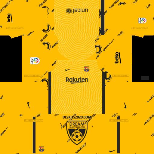 FC Barcelona Kits 2020-2021 Nike For Dream League Soccer 2019 (Home Goalkeeper)