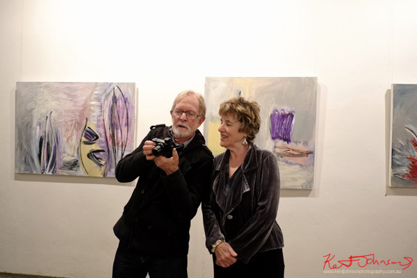 Jim Anderson with Vicki Varvaressos at Watters Gallery, Street Fashion Sydney by Kent Johnson.