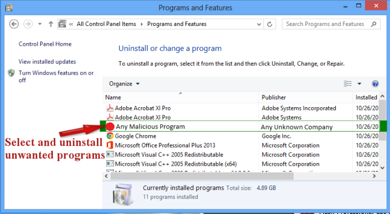 Remove Naspeciali.club From Windows 8
