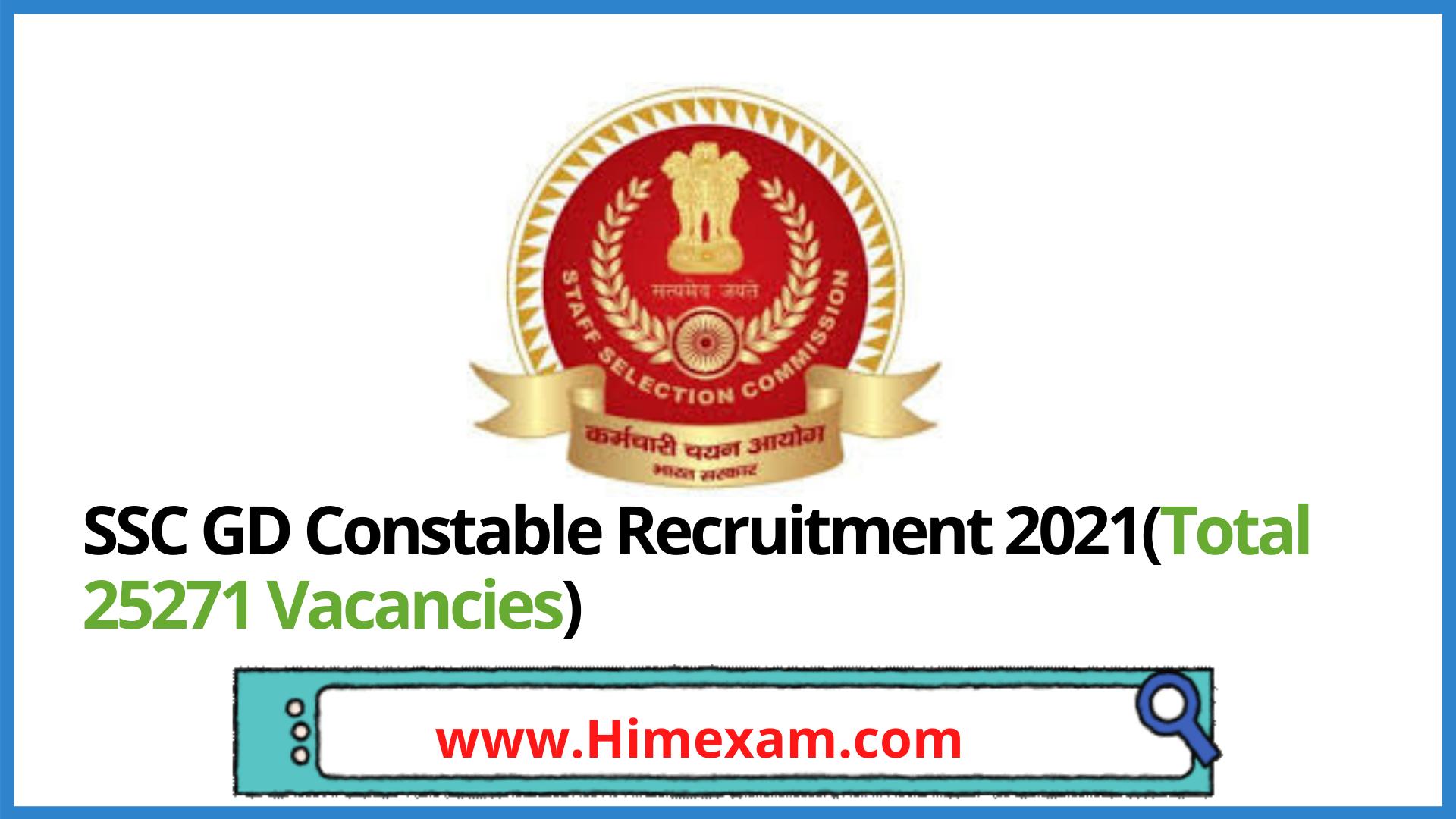 SSC GD Constable Recruitment 2021(Total 25271 Vacancies)
