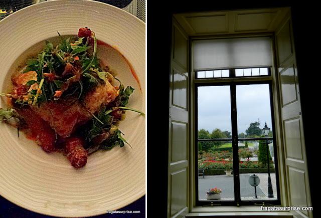 Lasanha de pato servido no bar L'Orangerie e jardins do Hotel St Helen's Radisson Blu