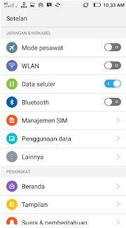 menu pengraturan jaringan 4g lte