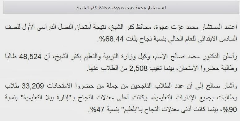 الان نتيجة الشهادة الابتدائيه محافظة كفر الشيخ الترم الاول