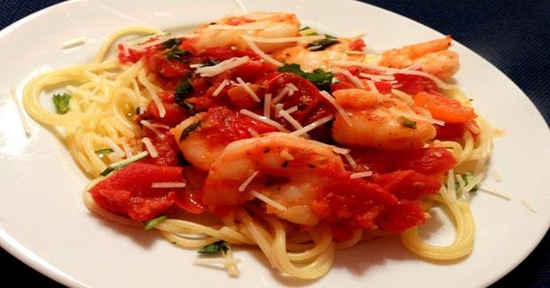 Shrimp Pasta W/Tomato And Basil Recipe