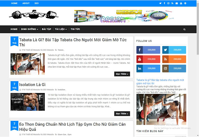 Mẫu website Fitness