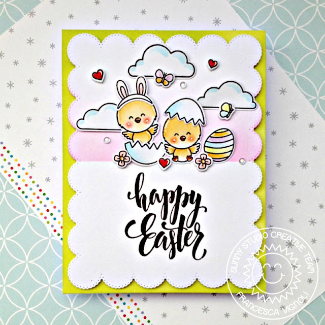 Sunny Studio Stamps: Frilly Frame Dies Chickie Baby Spring Showers Easter Card by Franci Vignoli