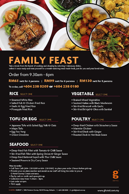 g hotel gurney's new takeaway menu  family feast chinese