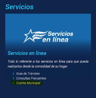 Escoger la opción Servicios en Línea - Cuenta Municipal