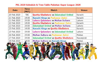 PSL 2020 schedule & time table, Pakistan Super League 2020 Schedule & Time Table, Pakistan Super League (PSL) 2020, PSL 2020 schedule & time table, HBL PSL 2020 Pakistan timing, 2020 PSL schedule fixture & time table, PSL 2020 in Pakistan, Pakistan Super League 2020 schedule, match time, live score, live streaming, PSL 2020 all teams, PSL 2020 all teams player list, PSL 2020 all matches in pakistan, Pakistan player, foreign player, Quetta Gladiators, Islamabad United, Karachi Kings, Peshawar Zalmi, Lahore Qalandars, Multan Sultans,