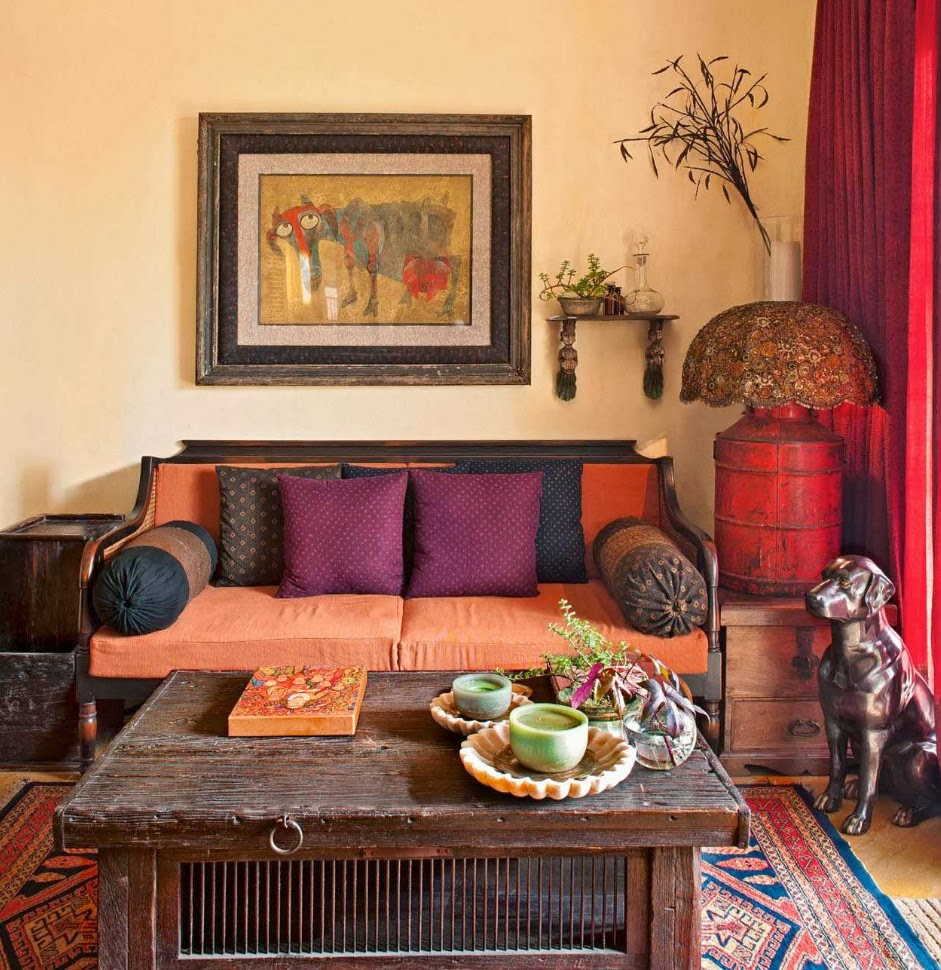 Indian Style Living Room Interior Design False Ceiling For India Lotus & Fig: Color Texture Pattern: An Exotic Livingroom