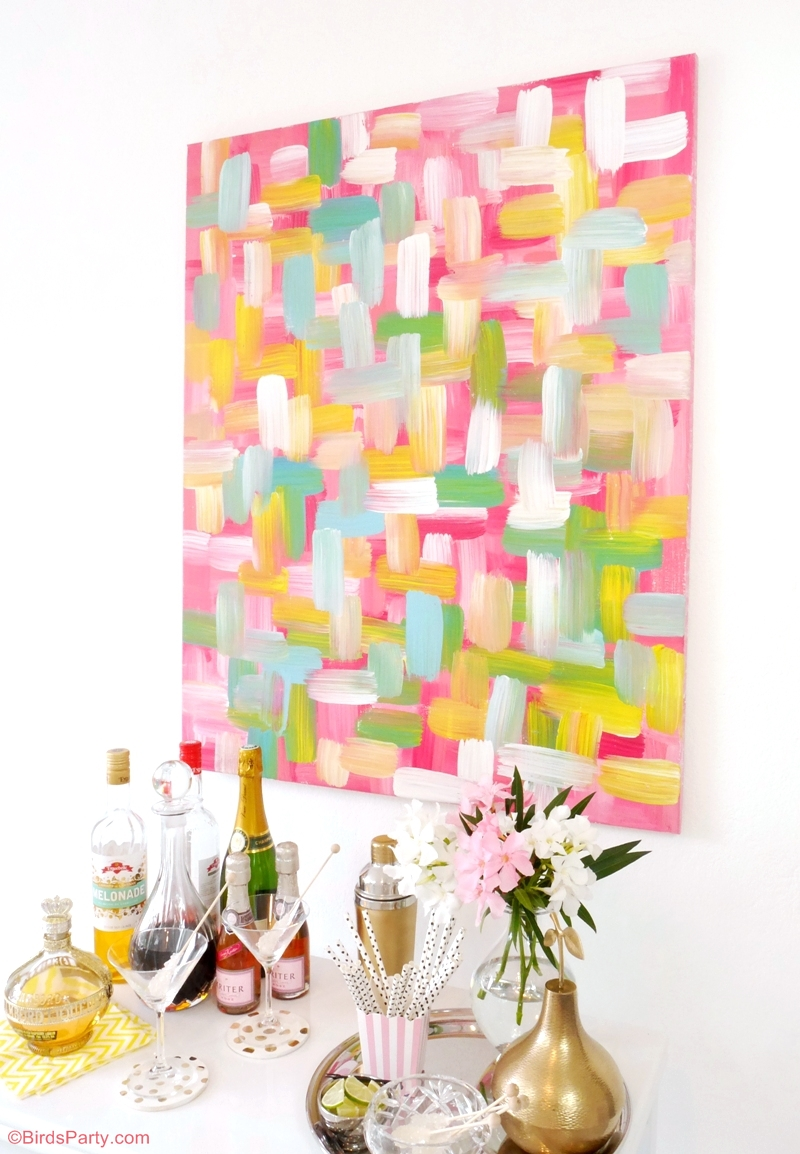 Easy DIY Wall Art Painted Canvas - BirdsParty.com
