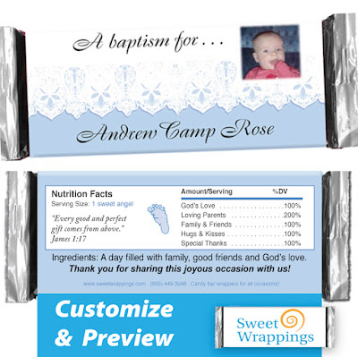picture of baby lace personalized candy bar wrapper